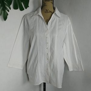 Alfred Dinner White Button Shirt Blouse